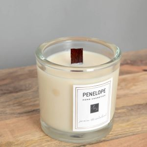 Jasmine sandalwood glass candle cream