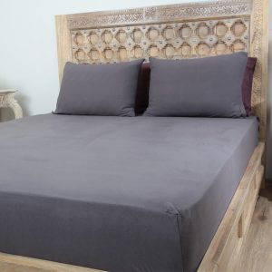 Penelope tender cotton bed sheet dark grey