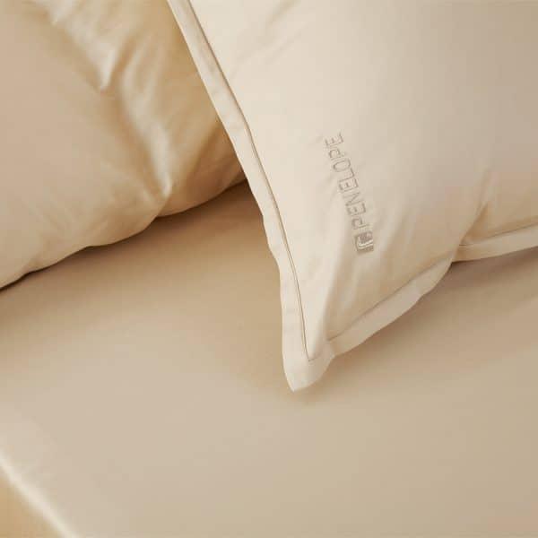 Stella beige flat sheet set 2 pillow cases